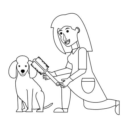 cartoon vet examining a cute poodle dog over white background, vector illustration