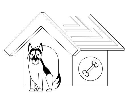 dog house with cute german shepherd icon over white background, vector illustration