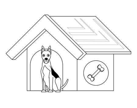 dog house with cute doberman icon over white background, vector illustration
