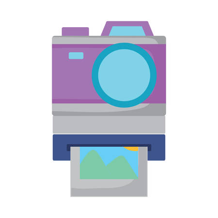 instant camera over white background, vector illustration