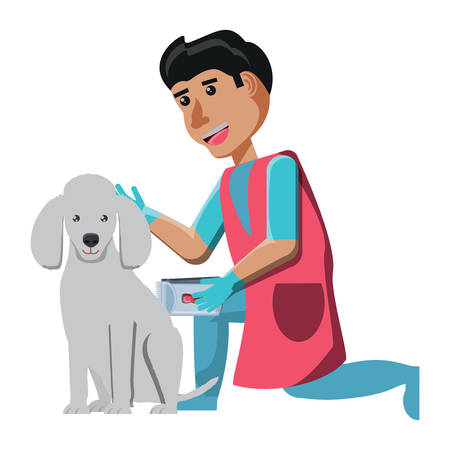 cartoon vet doctor  examining a cute  poodle dog over white background, vector illustration Çizim