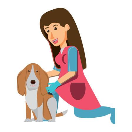 cartoon vet examining a cute basset hound dog over white background, vector illustration Vettoriali
