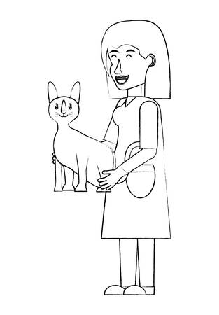 cartoon doctor vet holding a cute kitty over white background. vector illustration