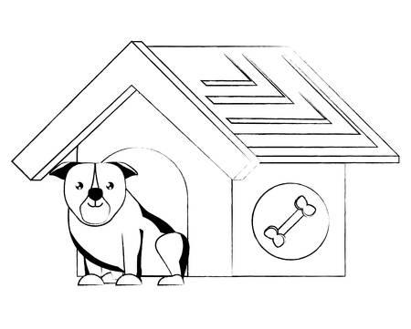 dog house with cute bulldog  icon over white background, vector illustration