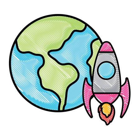 earth planet and space rocket over white background, vector illustration