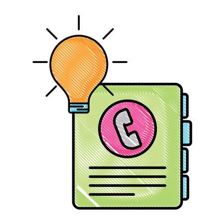 phone book and bulb light over white background, vector illustration Ilustração Vetorial