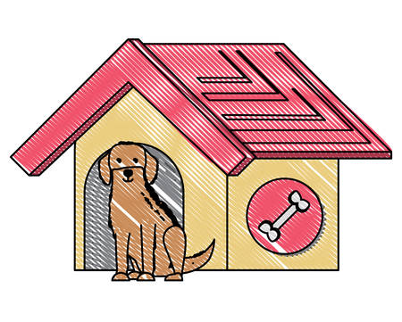 pet house with cute labrador dog over white background, vector illustration