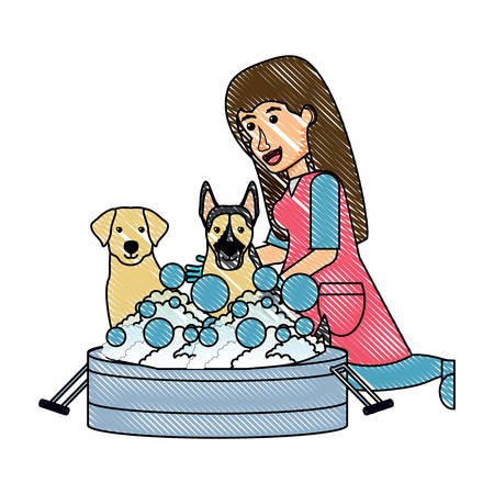 cartoon veterinary bathing a dogs over white background, vector illustration