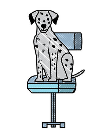 cute dalmatian dog on office chair over white background, vector illustration