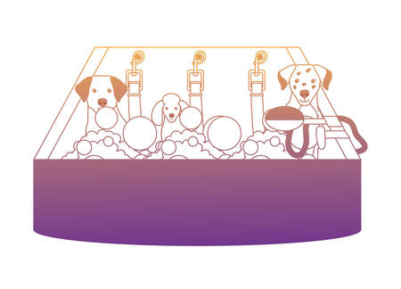 cute dogs taking a bath over white background, vector illustration Stock Illustratie