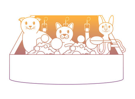 cute cats taking a bath over white background, vector illustration