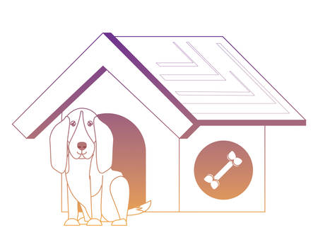 pet house with cute basset hound dog over white background, vector illustration