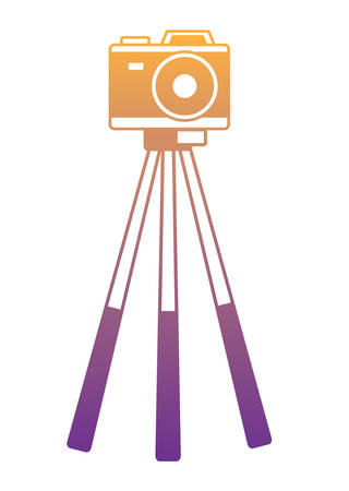 photographic camera on tripod over white background, vector illustration
