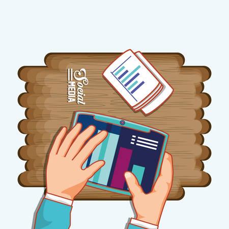 hands with tablet statistics chart social media vector illustration