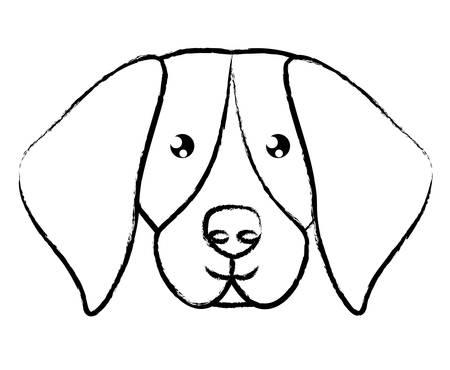 cute beagle dog icon over white background, vector illustration
