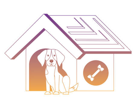 dog house with cute beagle icon over white background, vector illustration
