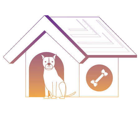 pet house with cute boxer dog over white background, vector illustration Illustration
