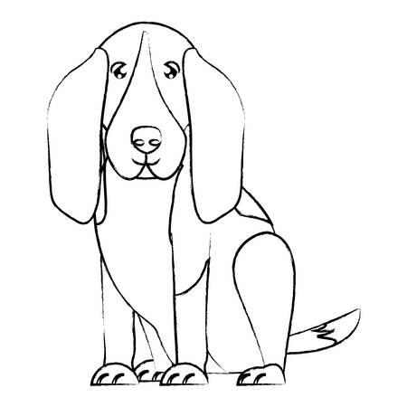 carino basset hound dog icona sullo sfondo, illustrazione vettoriale Vettoriali