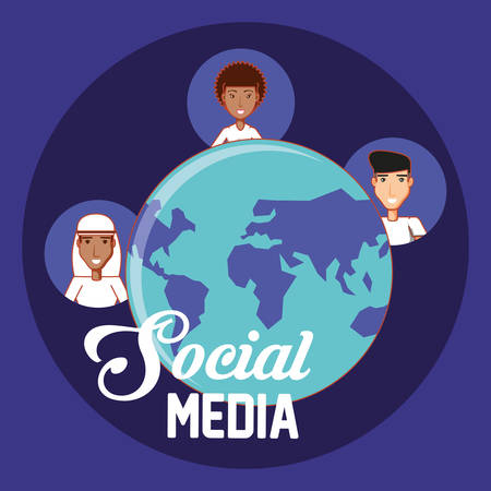 world different people ethnic communication social media vector illustration