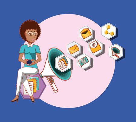 afro american woman using mobile advertising megaphone marketing social media vector illustration