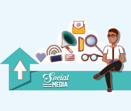 man with glasses using mobile upload social media vector illustration Vektoros illusztráció