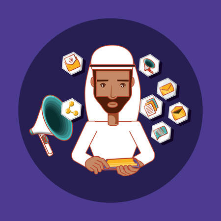 arab man with mobile phone advertising marketing social media vector illustration