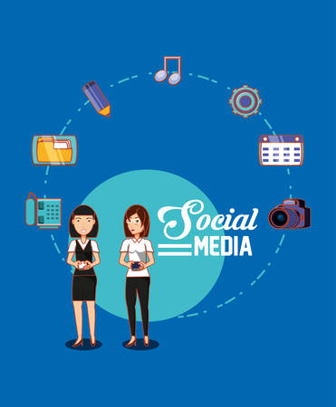 friendly women holds cellphone social media connection vector illustration