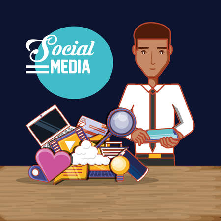 man with smartphone social media technology communication vector illustration Vector Illustratie