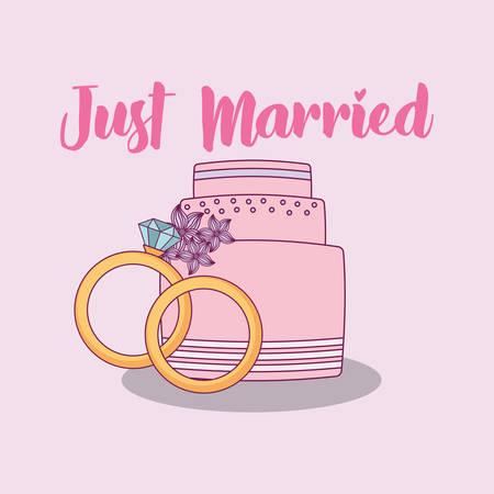 wedding celebration card with sweet cake vector illustration design