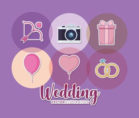 wedding celebration card with set icons vector illustration design