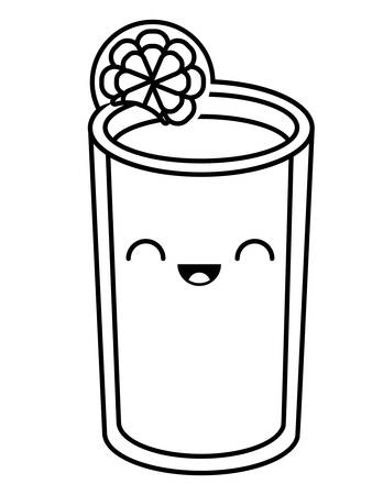 glass of orange juice over white background, vector illustration
