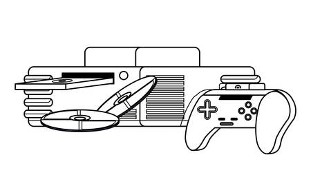 game console with cds and controller icon over white background, vector illustration Illustration
