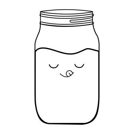 kawaii marmalade bottle over white background, vector illustration