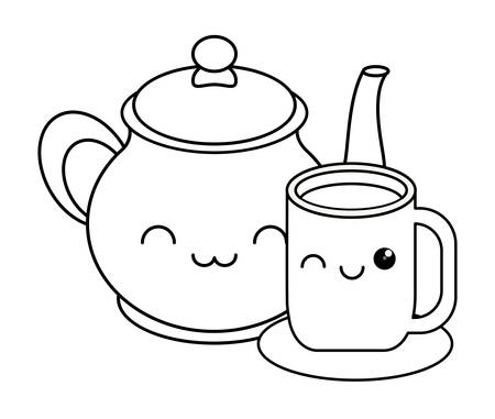 kawaii coffee mug and pot over white background, vector illustration