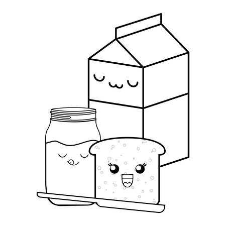 milk box  with bread and marmalade bottle over white background, vector illustration