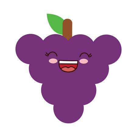 kawaii grape fruit icon over white background, vector illustration