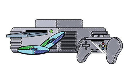 game console with cds and controller icon over white background, vector illustration Archivio Fotografico - 110346919