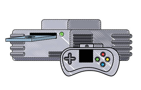 retro game controller and console icon over white background, vector illustration