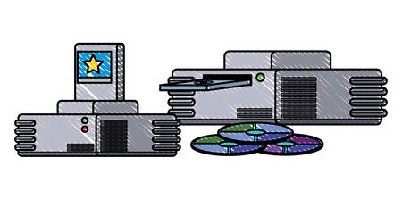 game consoles and cds icon over white background, vector illustration Illustration