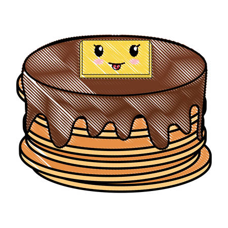 kawaii pancakes icon over white background, vector illustration
