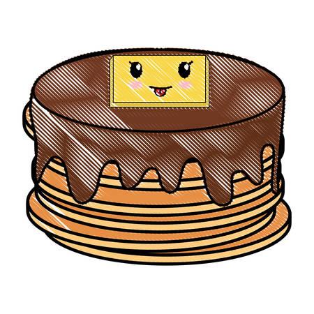 kawaii pancakes icon over white background, vector illustration