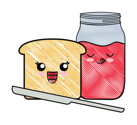 loaf slice and marmalade bottle over white background, vector illustration