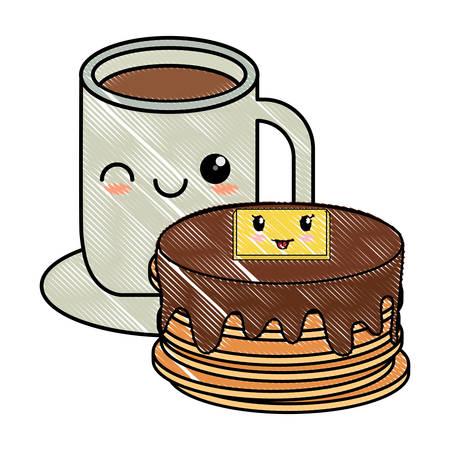 kawaii pancakes and coffee mug over white background, vector illustration