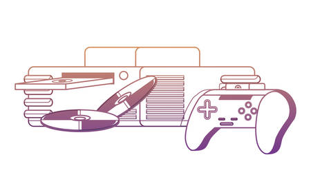 game console with cds and controller icon over white background, vector illustration Archivio Fotografico - 110347001