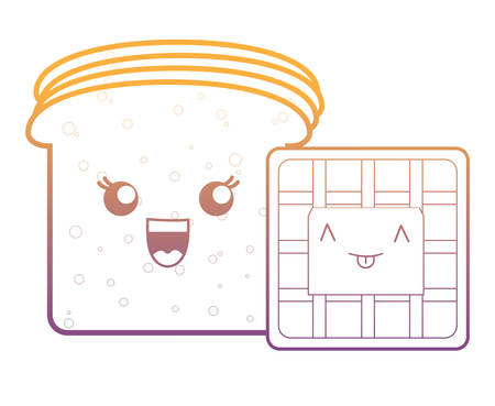 kawaii bread slices and waffles over white background, vector illustration