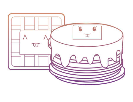 kawaii pancakes and waffles over white background, vector illustration