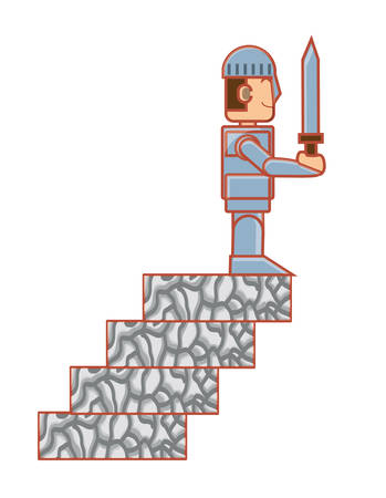 videogame knight character on the stairs over white background, vector illustration