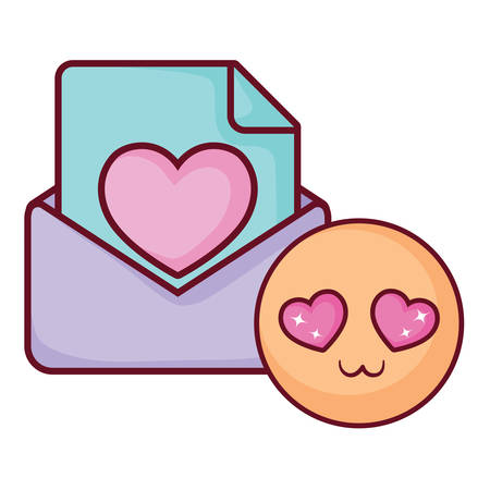 love letter and in love emoji over white background, vector illustration