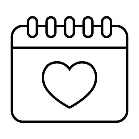 calendar with heart icon over white background, vector illustration Stock Illustratie