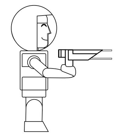 videogame astronaut character holding a flash gun  over white background, vector illustration Illustration